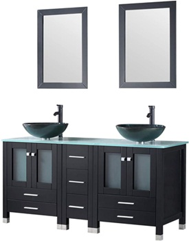 Walcut Black 60Inch Bathroom Vanity and Sink Combo Modren Cabinet Double Glass Vessel Sink and Faucet Combo with Pop Up Drain