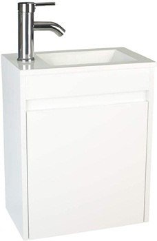 """eclife Bathroom Vanity with Sink Combo 16"""" for Small Space MDF Paint Modern Design White Wall Mounted Cabinet Set, White Resin Basin Sink Top, Chrome Faucet with Flexible U Shape Drain B10W"""