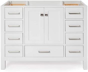ARIEL 42inch White Bathroom Vanity Base Cabinet with Single Sink