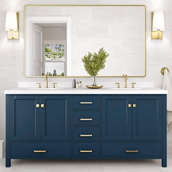 ARIEL 73inch Inch Double Sink Bathroom Vanity in Midnight Blue with Rectangle Sinks and Pure White Quartz Countertop