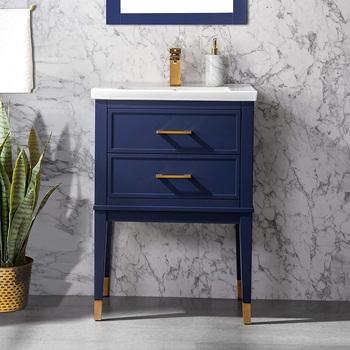 Clara 24 inch Single Bathroom Vanity with Porcelain Top - Blue