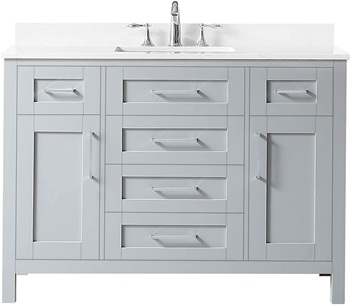 Ove Decors Maya 48 Set Bathroom Vanity Freestanding Cabinet, 48 inches, Dove Grey with Yves Cultured Marble Countertop