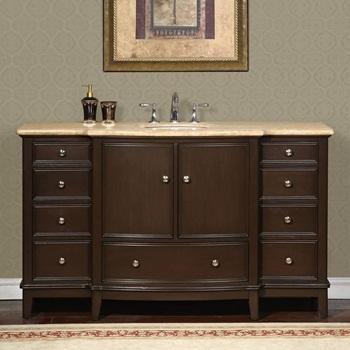 Silkroad Exclusive HYP-0237-T-UWC-60 Gorgeous Bathroom Travertine Top Single Sink Vanity Lavatory Cabinet, 60 inch, Dark Wood