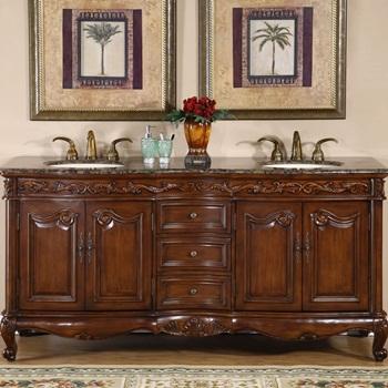 Silkroad Exclusive HYP-8034-BB-UIC-72 Baltic Brown Granite Top Double Sink Bathroom Vanity with Cabinet, 72inch, Medium Wood
