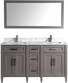 Vanity Art 60 Inches Double Sink Bathroom Vanity Set Carrara Marble Stone Top Dove-Tailed Drawers Soft Closing Doors Under-Mount Rectangle Sink Cabinet with Free Mirror VA2060-DG