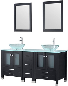 Walcut 60 inch Bathroom Black Vanity with Sink Double Modern Cabinet Combo Large Storage Countertop Glass Vessel Sink with Faucet and and Pop Up Drain