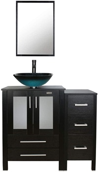 eclife 36'' Bathroom Vanity Sink Combo Black Small Side Cabinet Vanity Turquoise Square Tempered Glass Vessel Sink and 1.5 GPM Water Save Faucet & Solid Brass Pop Up Drain, with Mirror