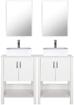 """eclife 48"""" Bathroom Vanity Sink Combo White Cabinet Vanity White Ceramic Vessel Sink and Chrome Bathroom Solid Brass Faucet and Pop Up Drain, with Mirror"""