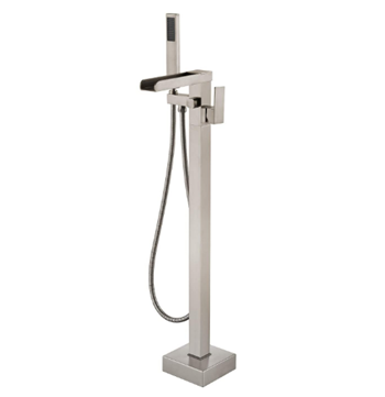Wowkk Freestanding Bathtub Faucet Waterfall Tub Filler Brushed Nickel Floor Mount Brass Single Handle Bathroom Faucets with Hand Shower